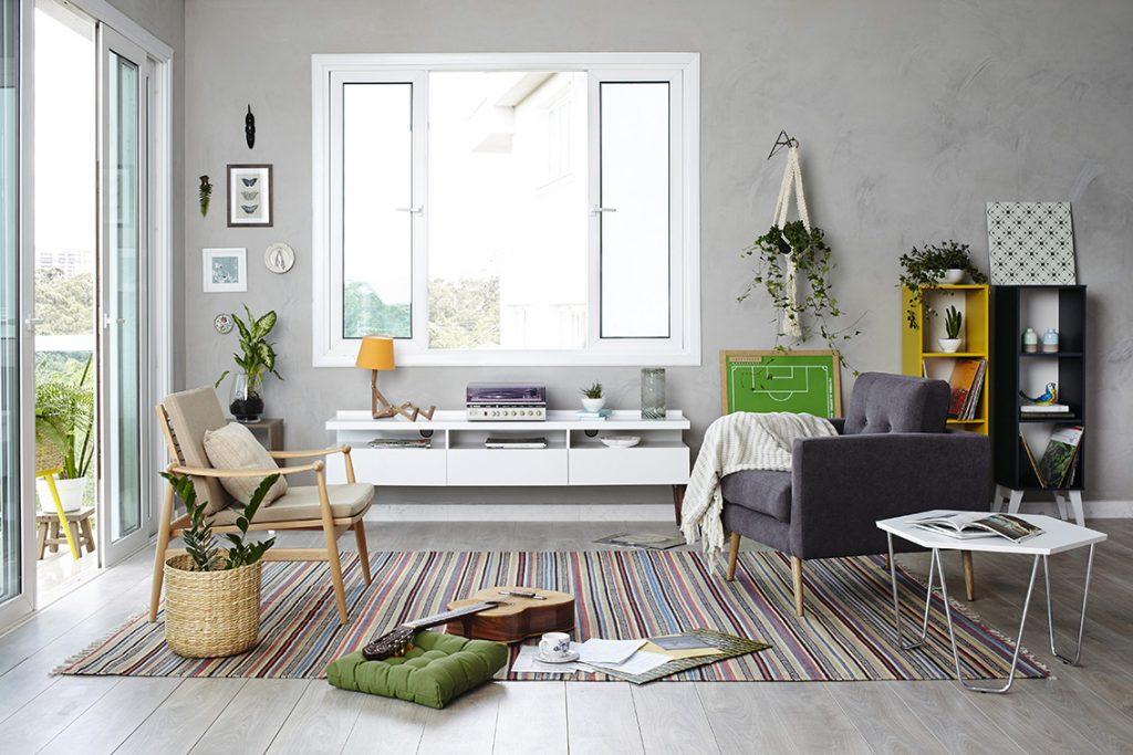 Inspira o sala de estar em cimento queimado e cheia de bossa for Casas decoradas estilo contemporaneo
