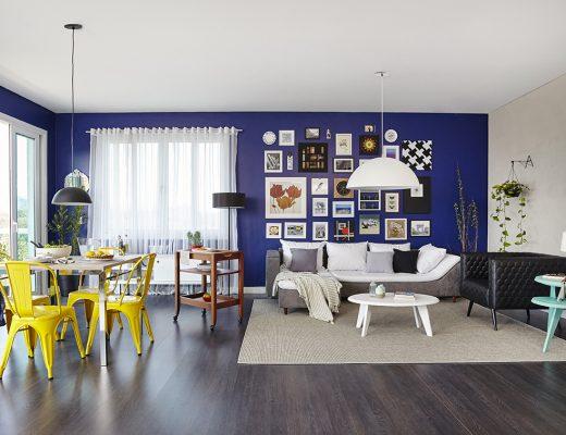 Sala de estar e jantar integradas, living, decoradas no estilo contemporâneo