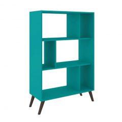 estante para home office escritorio azul mobly