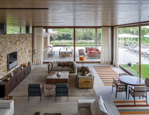 decoração com tapetes na sala de estar