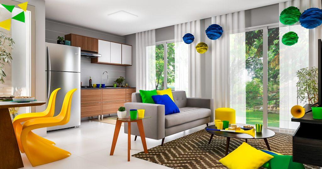 festa em casa na sala de estar decorada com verde, amarelo e azul
