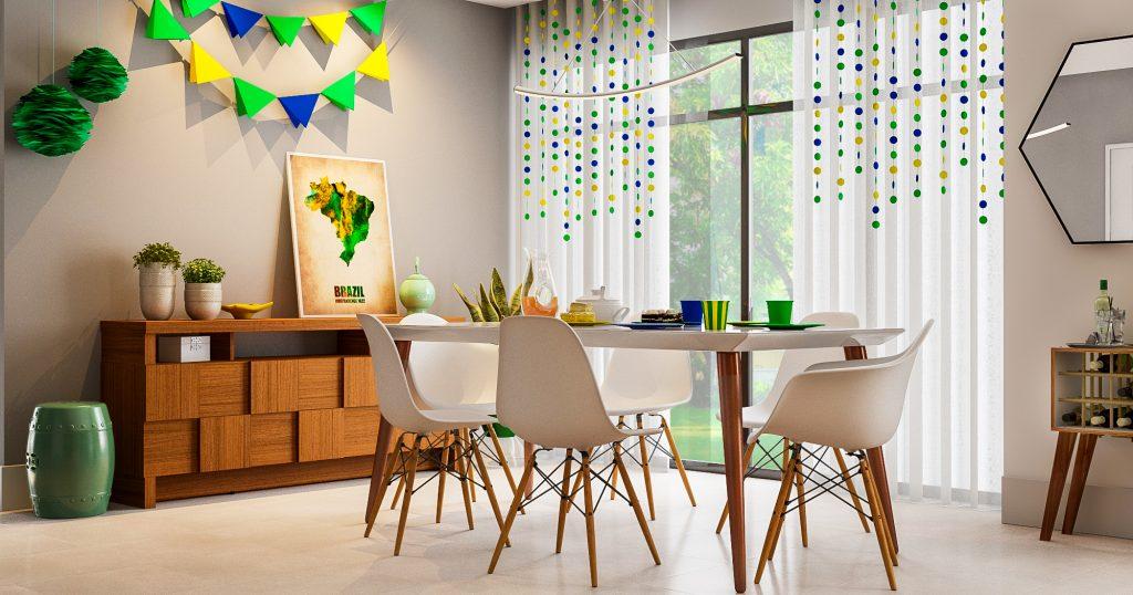 festa em casa na sala de jantar enfeitada com verde e amarelo