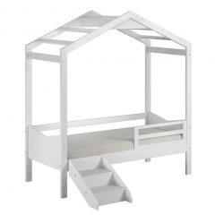 Cama Infantil Montessoriano Unissex Branco com Escada