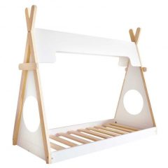 Cama Infantil Montessoriano Unissex Branco e Natural