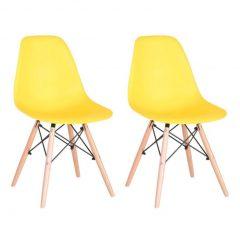 festa em casa com cadeiras amarelas