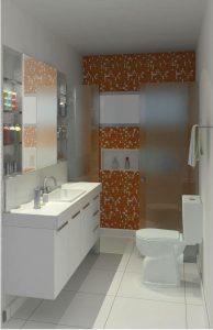 banheiro decorado com pastilha laranja
