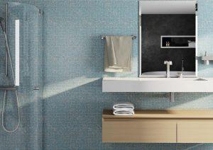 banheiro decorado com pastilha azul claro
