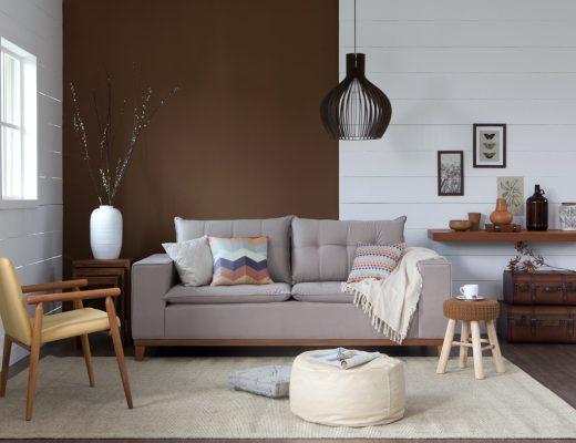 decoração de inverno sala de estar com manta