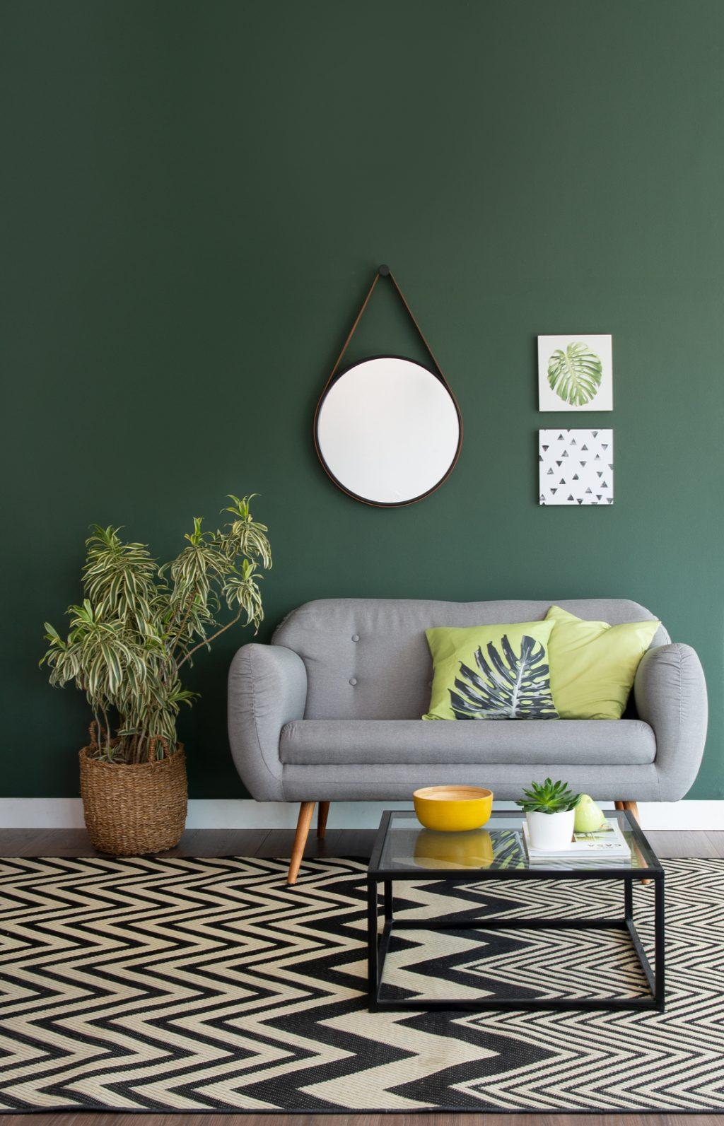 decoração tropicália na sala de estar com plantas