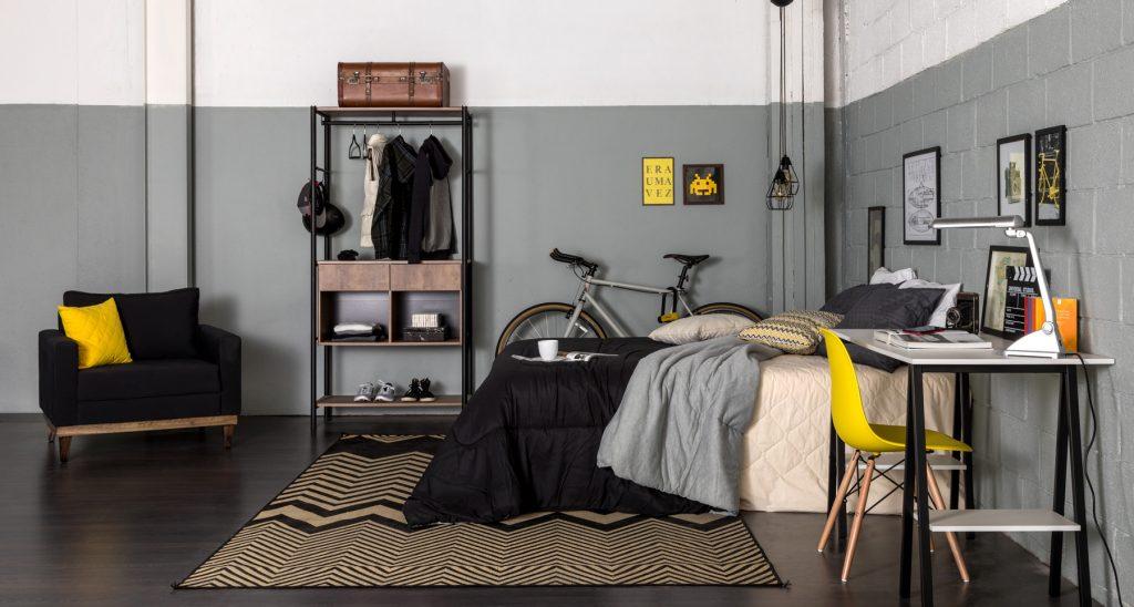 meia parede branca e cinza no quarto industrial