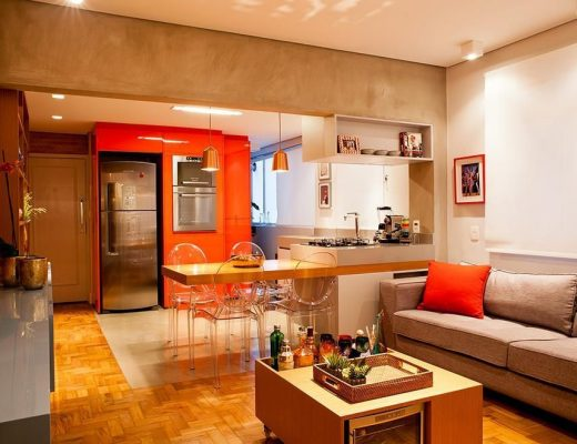 cozinha americana em apartamento estilo industrial