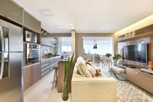 cozinha americana integrada com a sala de estar