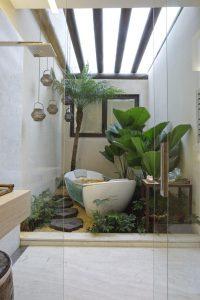 spa em casa com banheira em pedra fria