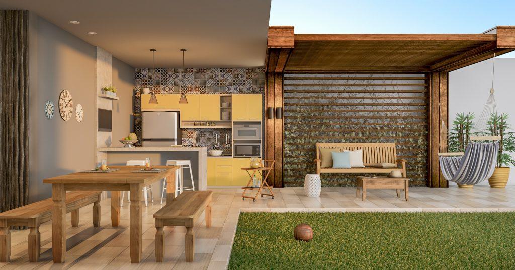 decoração da área externa com espaço para descanso