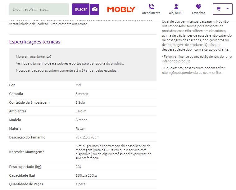 Especificações de um produto para comprar móveis pela internet