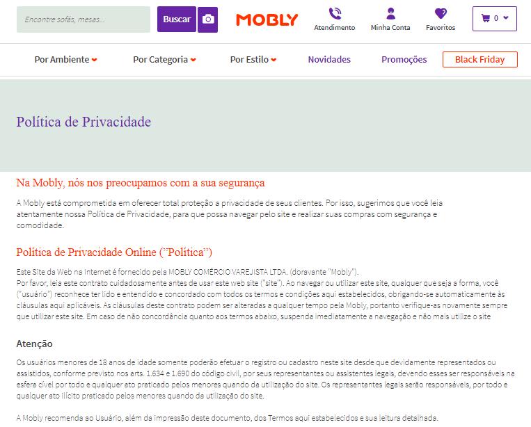 política de privadade para comprar móveis pela internet