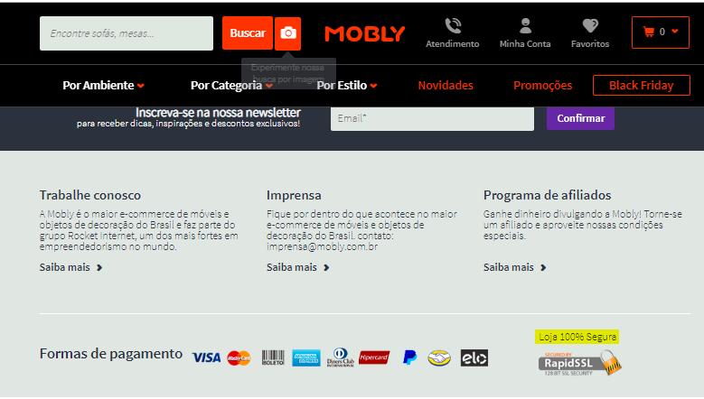 comprar móveis pela internet no site com selo de segurança RapidSSL